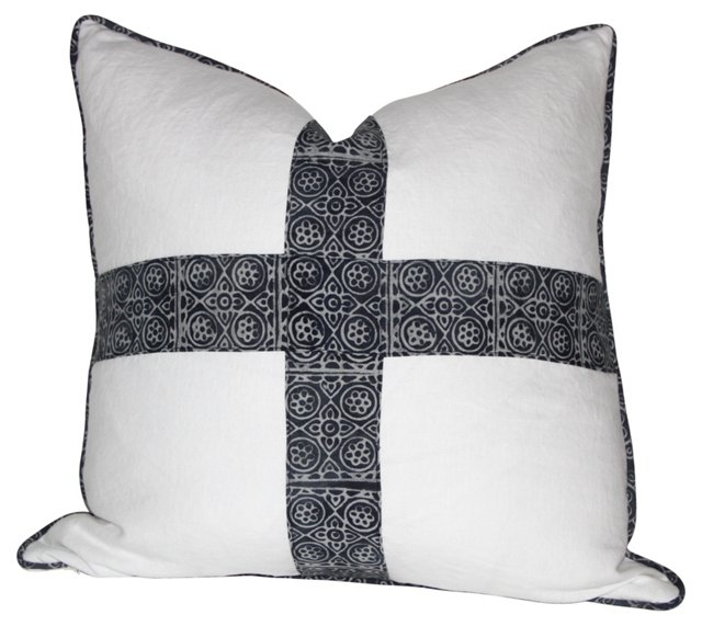 Pillow w/ Indigo   Batik Cross