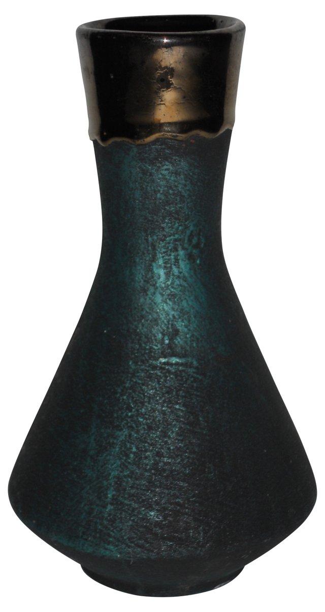 Midcentury Mercury Trim Vase
