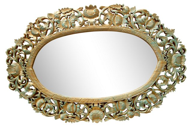 Hand-Carved Floral Mirror