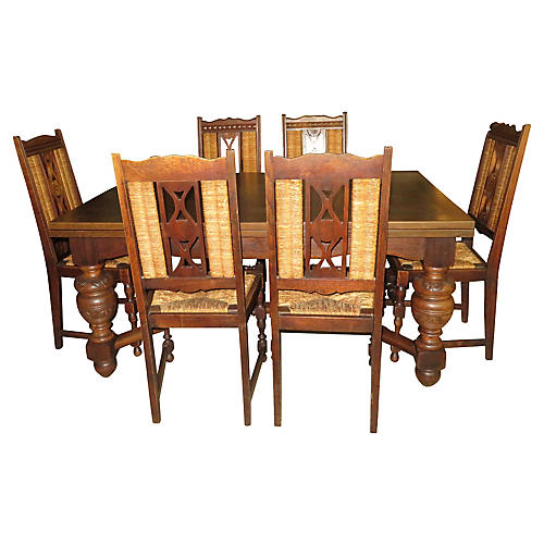 Country Oak Table & 8 Chairs