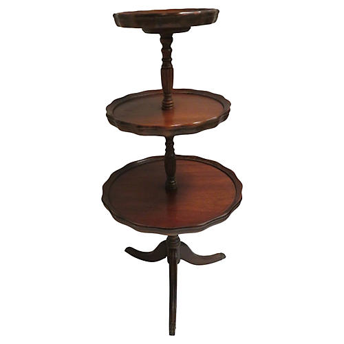 Antique 3-Tier Piecrust Table