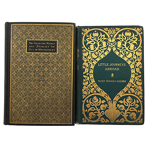 Decorative Green & Gold Titles, S/2