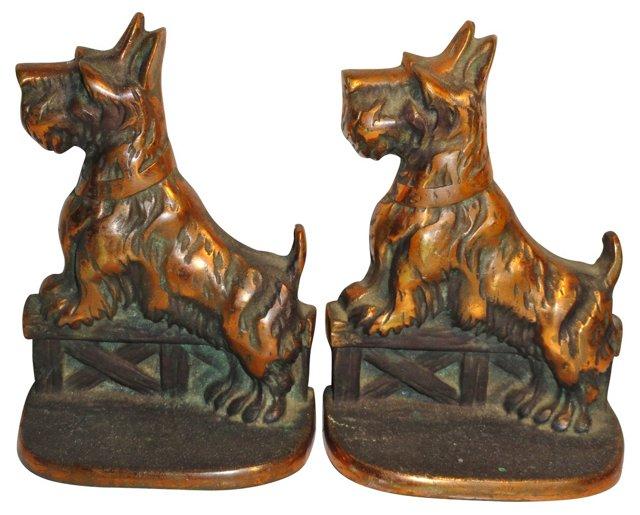 Scottie Dog Copper Bookends