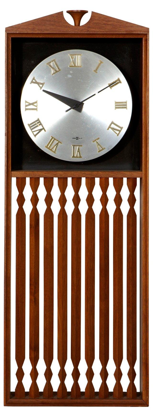 Midcentury Walnut Howard Miller Clock