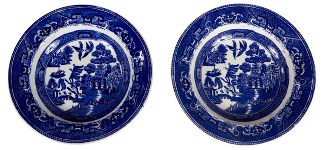 English Blue Willow Soup Bowls, Pair