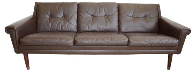 Danish Tufted  Leather Sofa
