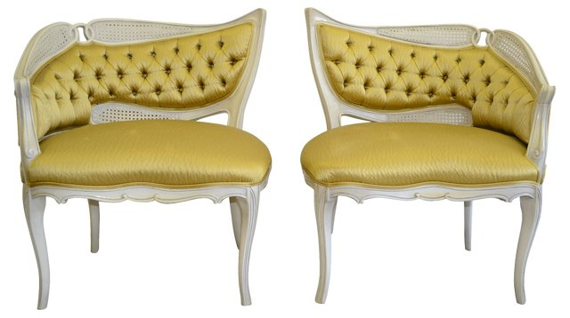 1960s Gold-Upholstered Chairs, Pair