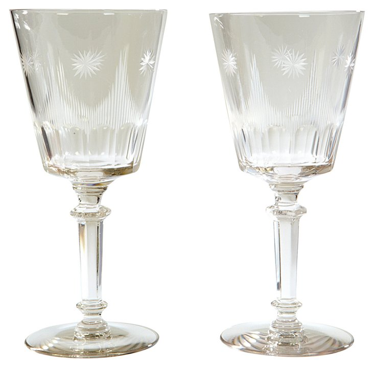 Art Deco Wine Stems, Pair
