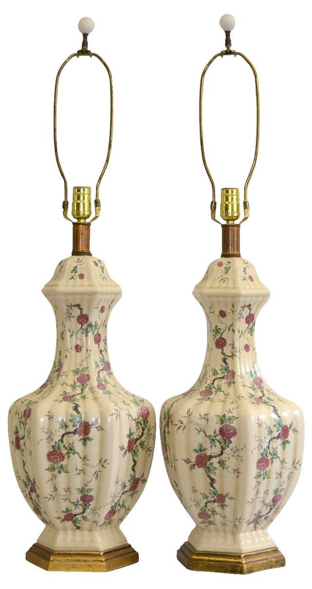 Gilt & Floral Ceramic Lamps, Pair