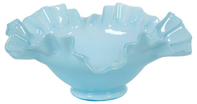 Fenton Blue Ruffled-Edge Bowl