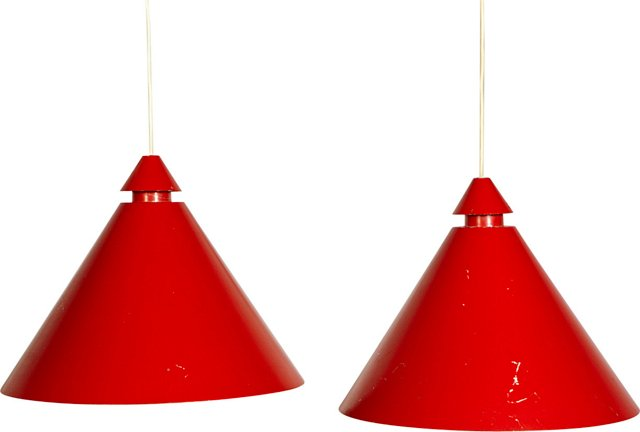Swedish Conical Pendants, Pair