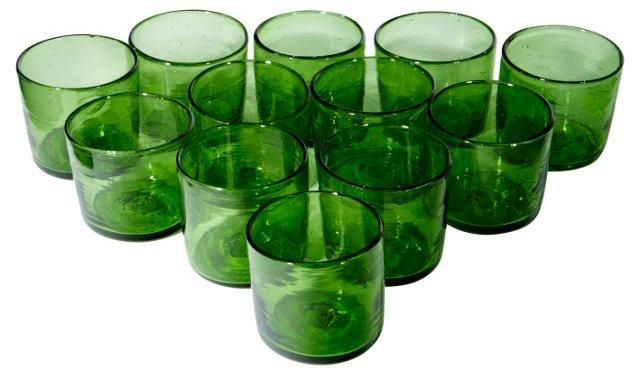 Green Handblown Glasses, S/12