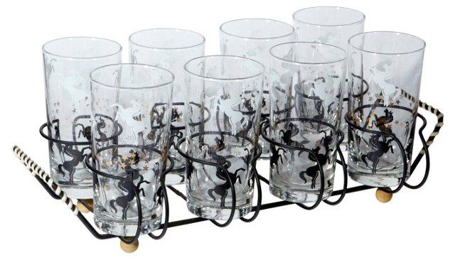 1960s Pegasus Glasses w/ Rack, 9 Pcs