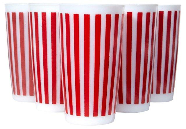 1950s Red & White Striped Glasses, S/6