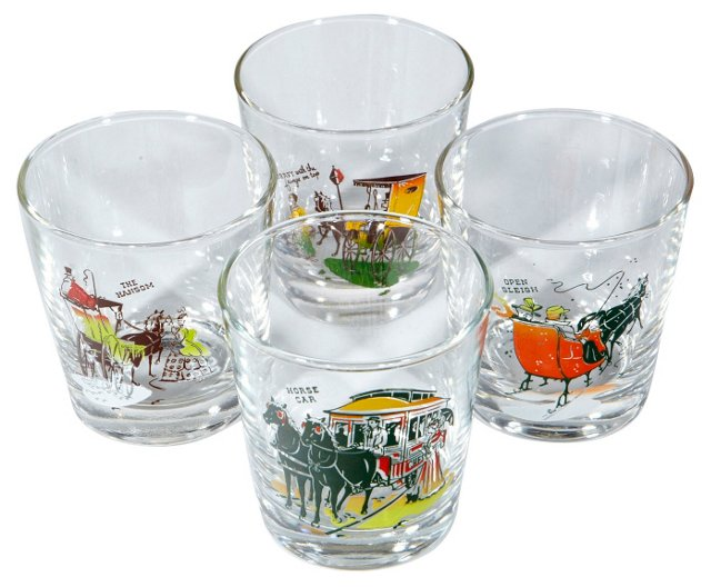 1960s Horse & Carriage Glasses, S/4