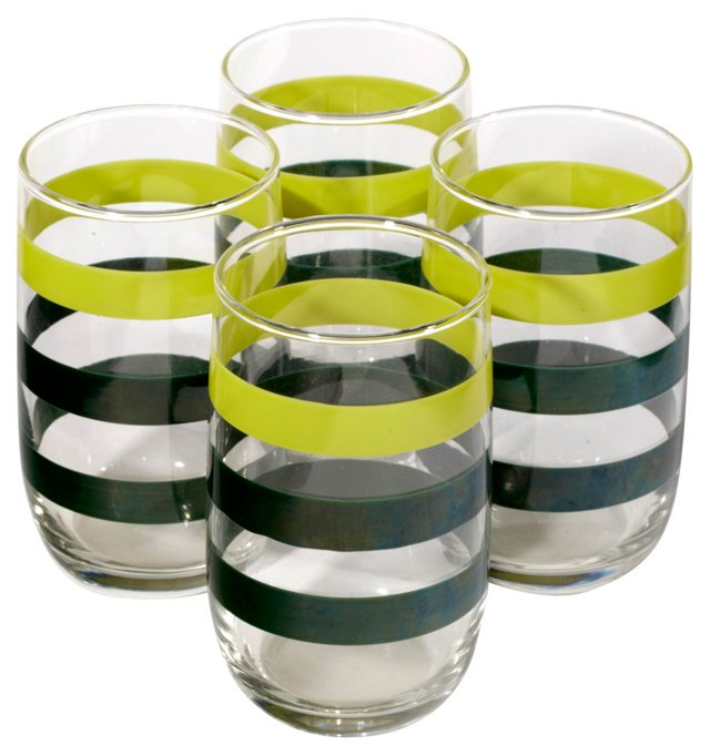 Black & Chartreuse-Striped Glasses, S/4