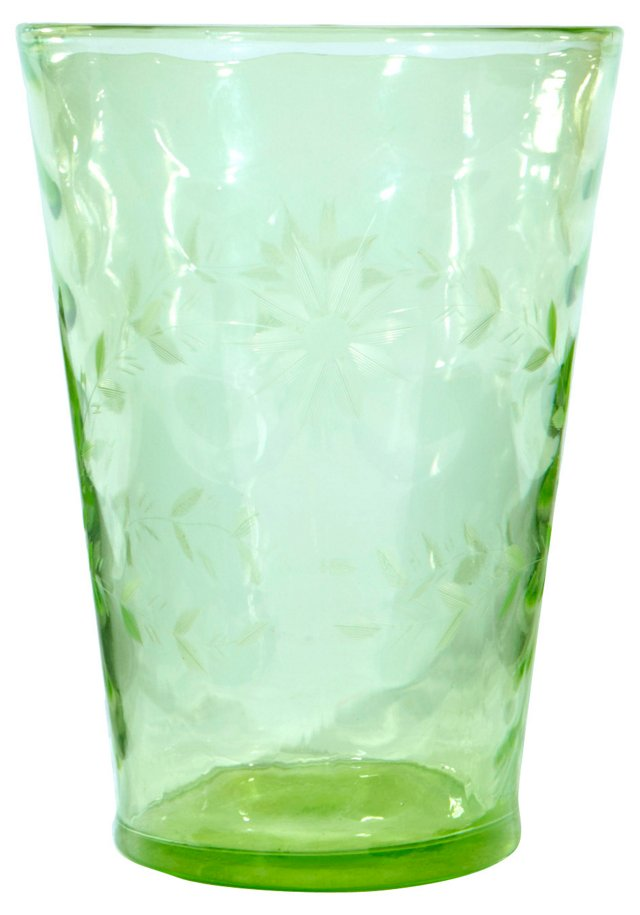 Floral Etched Green Glass Vase