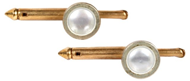 Gold-Plated Tuxedo Studs, Pair
