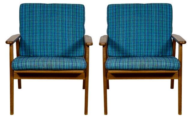 1950s Danish Teak Lounge Chairs, Pair