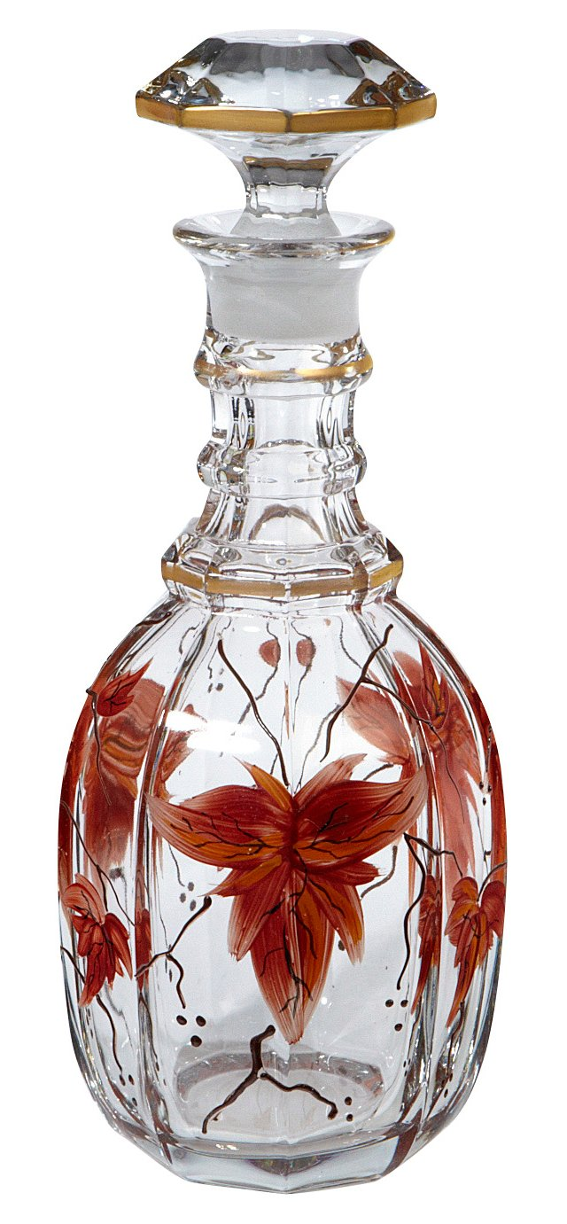Floral & Gilt Accent Decanter