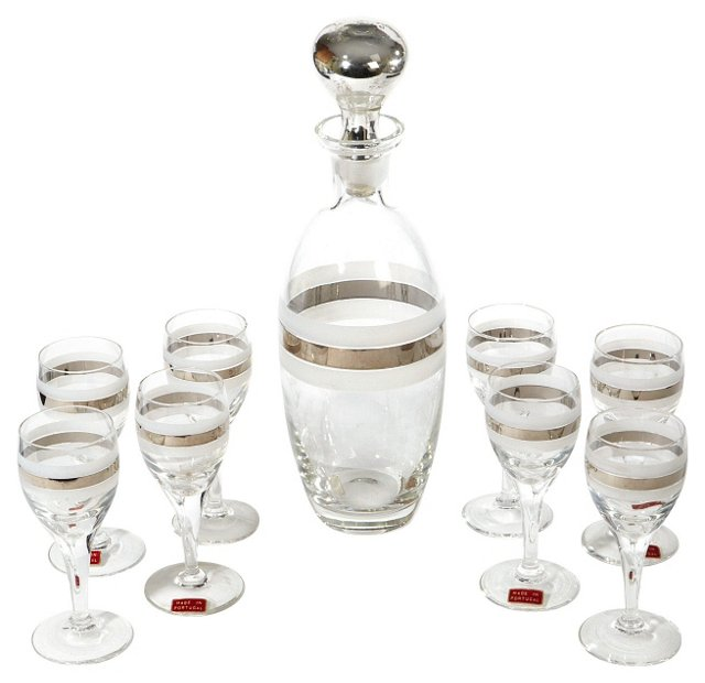 Silver Banded Decanter Set, S/9