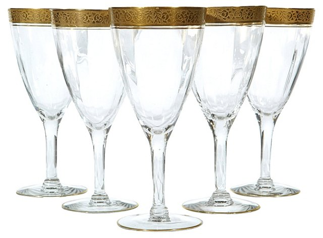 Art Deco Gold-Banded Wine Stems, S/5
