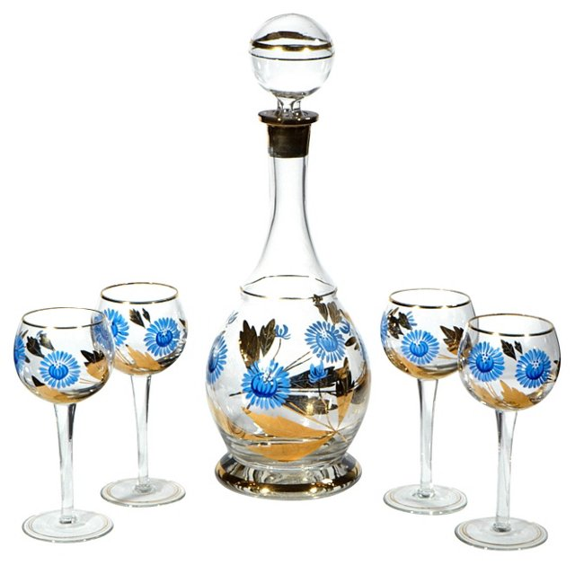 Gilt Floral Decanter Set, S/5