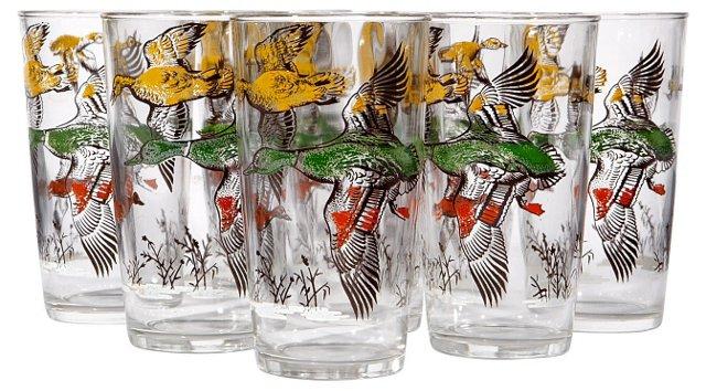 1960s Pheasant Glasses, S/8