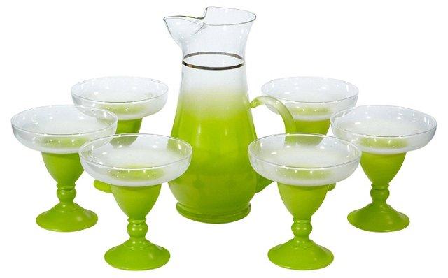 1960s Green Margarita Set, S/7