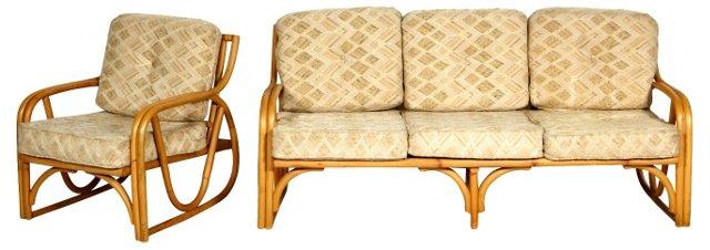 1950s Rattan Sofa & Chair
