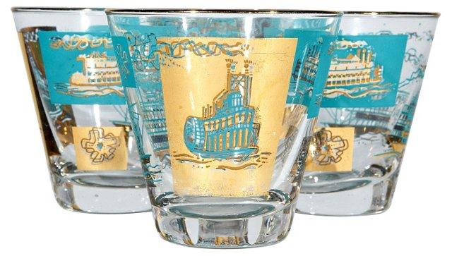1960s Gilt Show Boat Glasses, S/4