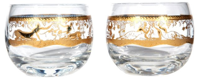 Gilt Neoclassical  Tumblers, Pair