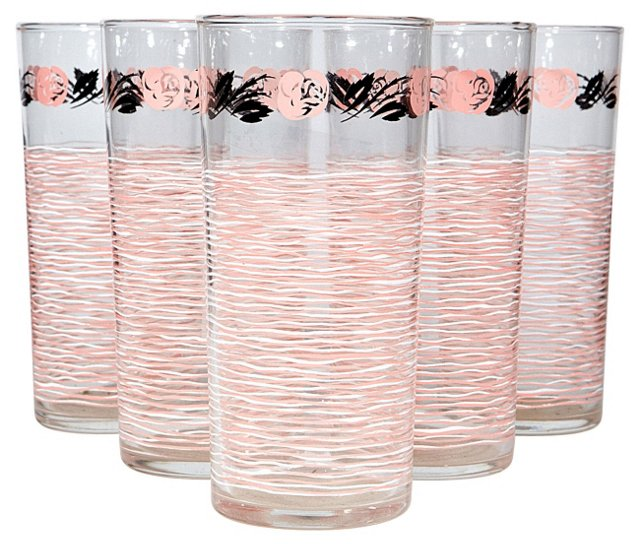 1950s Pink Rose Glass Tumblers, S/5