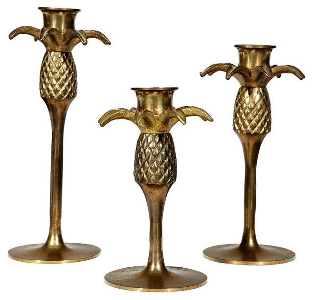 Gilt Palm Tree Candleholders, S/3