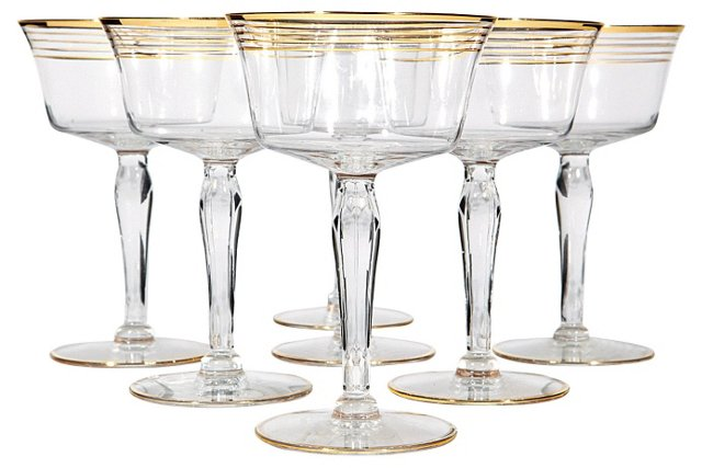 Art Deco Gilt-Banded Coupes, S/7