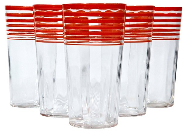 1950s Red-Banded Tumblers, S/5