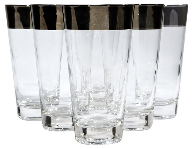 Wide Band Silver-Rim Tumblers, S/7