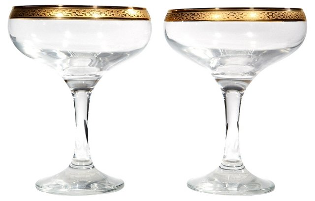 Floral Gilt-Edged Coupes, Pair