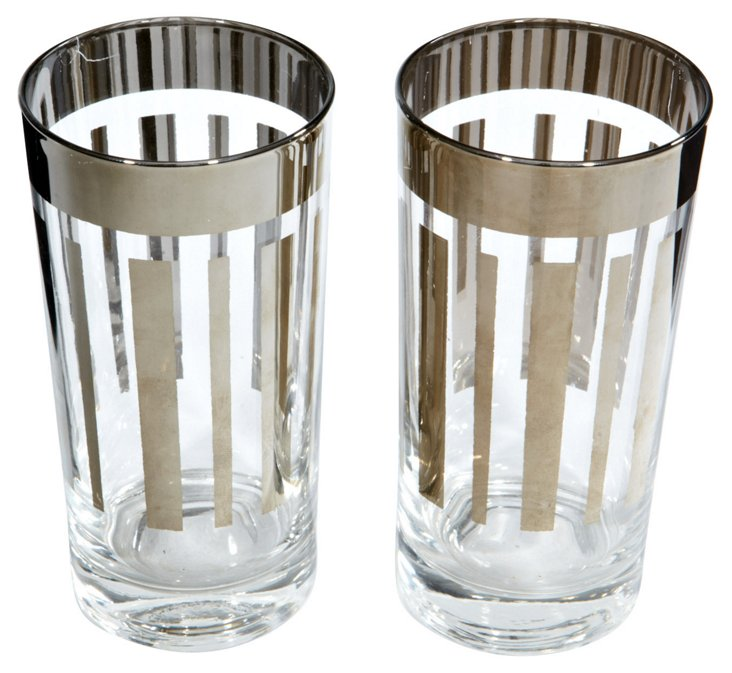 Silver Vertical Striped Tumblers, Pair