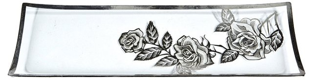 1960s Silver Floral Serving Tray