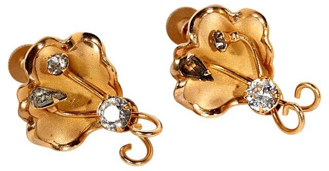 1960s Gilt & Rhinestone Earrings