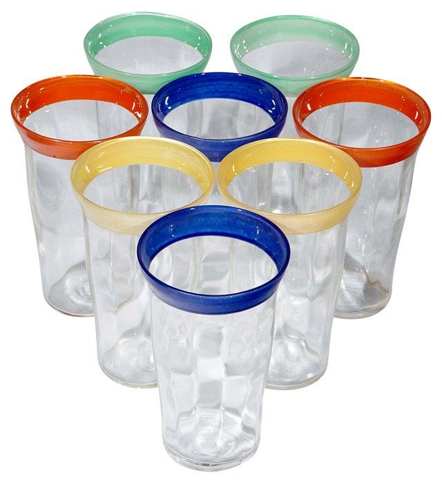 1950s Multicolored Juice Glasses, S/8
