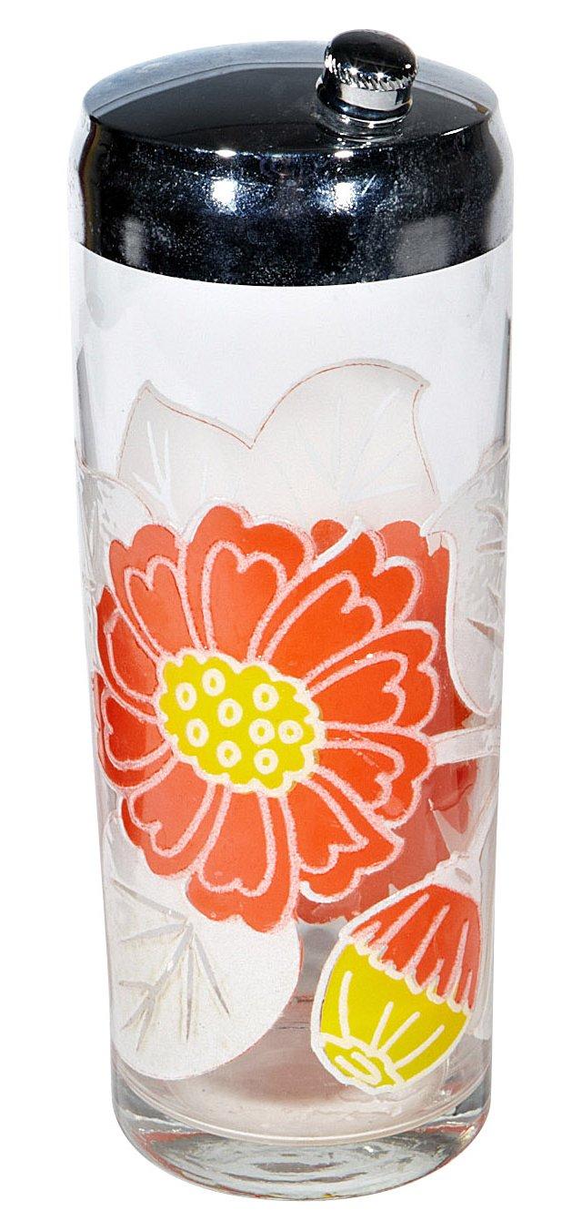 1970s Floral Cocktail Shaker