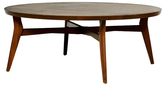 1960s Round Wood Coffee Table
