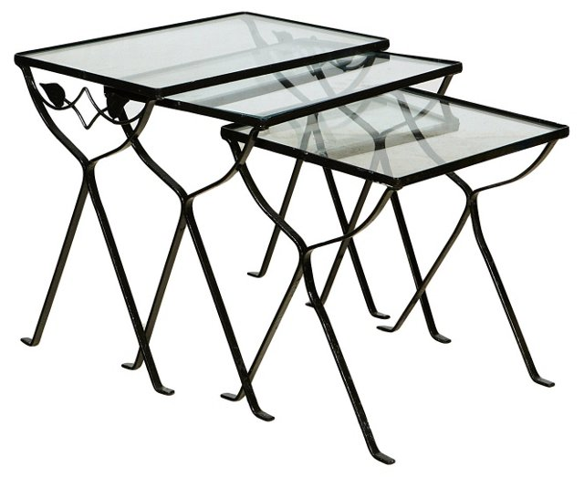1950s Wrought Iron Nesting Tables, S/3