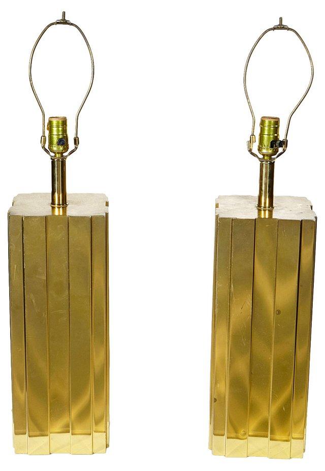 Brass Skyscraper Lamps, Pair