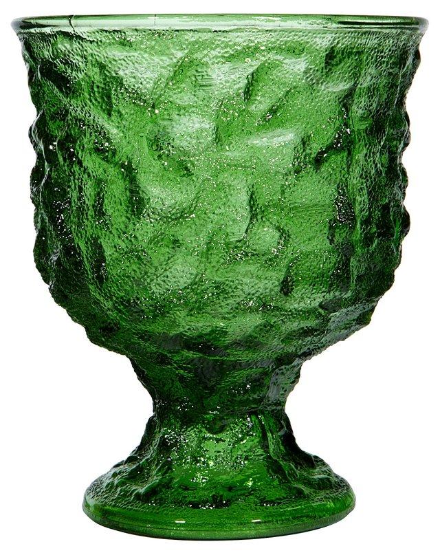 1960s Green Textured Glass Planter