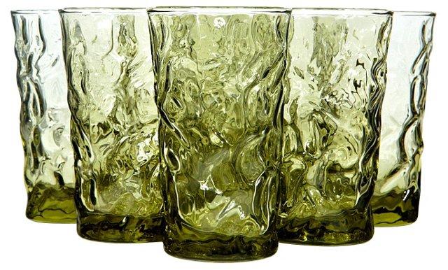 1960s Verde Textured Juice Glasses, S/9