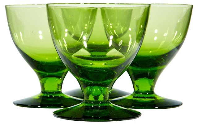 1960s Verde Liquor Glasses, S/4