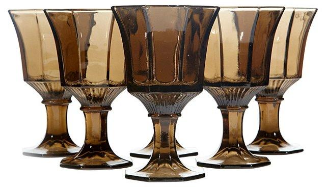 1960s Brown Glass Wine Stems, S/6